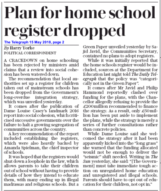 The Telegraph, 15 May 2018, page 2