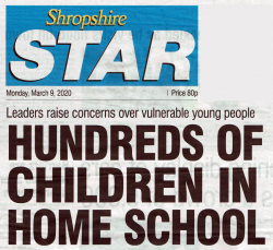 Shropshire Star, front page headline, 9 March 2020